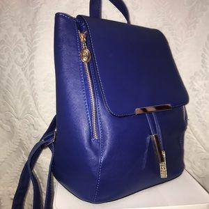 Handbags - royal blue faux leather mini backpack